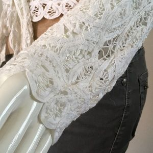 Tops - White Lace Wrap-Front Coverup Top